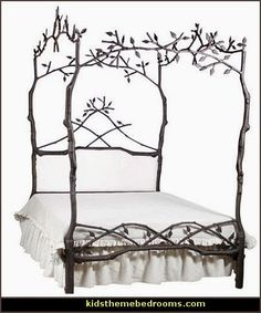 Enchanted Forest Queen Canopy Bed with Upholstered Headboard - Upholstered Beds and Headboards - Bedroom and Bath - Furniture Fairy Bedroom, Fantasy Bedroom, Dream Bedroom, White Bedroom, Iron Canopy Bed, Queen Canopy Bed, Canopy Beds, Canopies, Girls Canopy