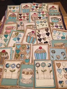 """Stitched paper card designs ready to be stuck into blank cards"" Freehand Machine Embroidery, Free Motion Embroidery, Free Machine Embroidery, Embroidery Applique, Fabric Cards, Fabric Postcards, Sewing Cards, Quilting, Fabric Pictures"