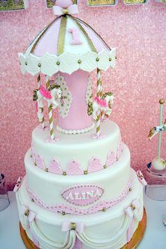 Cake from a Carousel 1st Birthday Party via Kara's Party Ideas | KarasPartyIdeas.com (7)