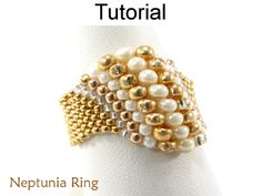 Making Beading Tutorials and Patterns - Beaded Ring - Peyote Stitch - Odd Count - Simple Bead Patterns - Neptunia Ring Abalorios patrones Tutorial abalorios anillo Peyote cuentaMaking Peyote Stitch Patterns, Weaving Patterns, Jewelry Making Tutorials, Beading Tutorials, Beaded Rings, Beaded Jewelry, Bead Jewelry, Jewelry Making, Seed Beads