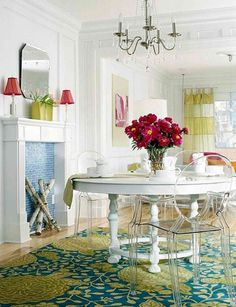 White round kitchen table & ghost chairs    want a more modern & simpler table - but love this combination of white & acrylic
