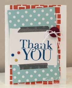 Colorful thank you card designed for the Sorority Sketch challenge by Kristin Kortonick featuring the Another Thank You stamp set by Stampin' Up!