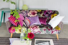 Designers Guild bright and floral cushions