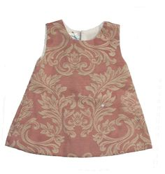 Baby girl jumper dress pink in Damask Brocade, $42 by Renattoni