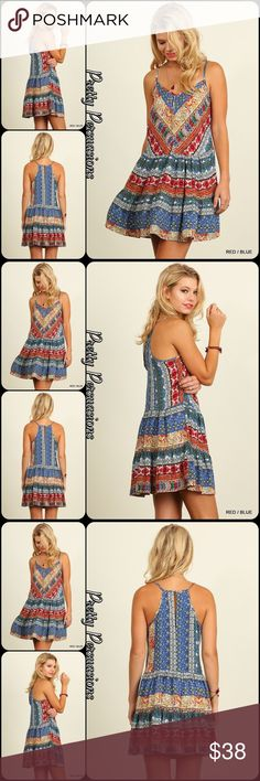 """2 LEFT ‼️NWT Boho Tribal Printed Mini Dress Tunic NWT Boho Tribal Printed Mini Dress Tunic  Available in Small & Large Measurements taken from a size small  Length: 33.5"""" Bust: 40"""" Waist: 40"""" Hips: 46""""  Features  • multicolored boho tribal vintage inspired print • sleeveless  • spaghetti straps • small keyhole opening at back • print color placement may very by dress • relaxed, easy fit • soft, breathable material   Cotton blend  Bundle discounts available No pp or trades  Item #…"""