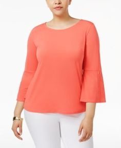 Calvin Klein Plus Size Bell-Sleeve Boat-Neck Top - Orange 1X
