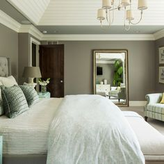 LOVE  White trim, dark doors, wall color is Winter Gates by Benjamin Moore. I really like this for Master