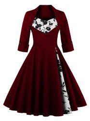 Knee Length Floral Flare Corset Dress