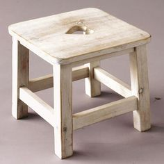 wood stool with heart