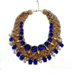 Cobalt Braided Bib Jumbo Braids, Cobalt, Art Decor, Bones, Crochet Necklace, Jewelry Design, Crystals, Antiques, Antiquities