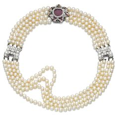 PROPERTY FROM THE ESTATE OF MARY, DUCHESS OF ROXBURGHE: Natural pearl, ruby and diamond choker, early 20th century. Composed of four rows of natural pearls decorated with a floral motif set with a fancy-cut and circular-cut rubies, and single-cut diamonds, further accented with two geometric plaques set with circular-cut and baguette diamonds.