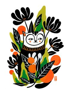 Mossy Cat Fine Art Print 8x10 by BrittDeMarisArt on Etsy