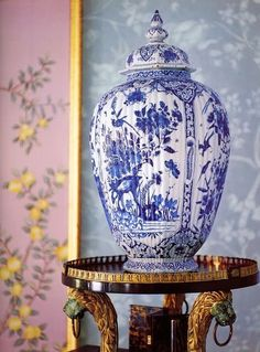 Unique shape chinoiserie- so lovely!