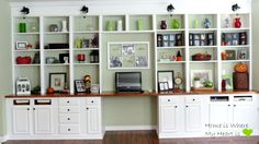 s how to fake gorgeous built in furniture 12 ideas, closet, how to, painted furniture, Make a built in office wall from cabinets Shelf Furniture, Built In Furniture, Built In Desk, Built In Bookcase, White Furniture, Built Ins, Kitchen Furniture, Office Furniture, Painted Furniture