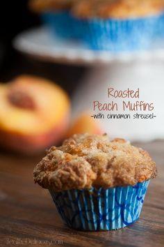 Roasted Peach Muffins with Cinnamon Struesel  #ad
