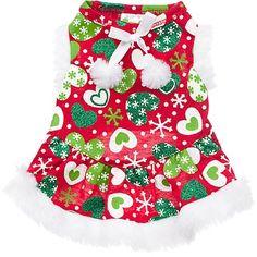 Petco Wag-a-Tude Holiday Heart Print Dog Dress