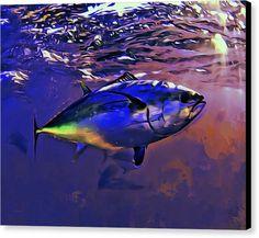 Tuna Canvas Print featuring the painting Sunset Tuna Portrait by Scott Wallace Dragon Tattoo Pictures, Sea Fish, Ocean Art, Fish Art, Underwater Photography, Canvas Prints, Art Prints, Beach Towel, Fine Art America