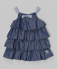 Look at this #zulilyfind! Navy Ruffle Bow Dress - Infant, Toddler & Girls by Calvin Klein Jeans #zulilyfinds