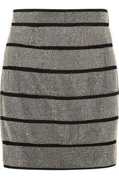 BALMAIN Stud-embellished suede skirt