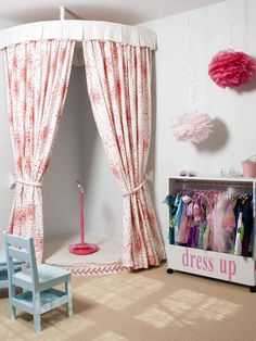Idea for Riley's playroom-DIY circle rod with curtains in a corner for reading, sitting, or putting on little shows!