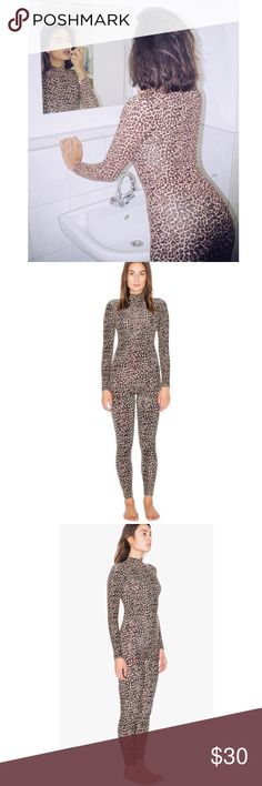 American Apparel Leopard Turtleneck Catsuit Worn once!  Size M  A staple silhouette constructed from cotton spandex fabrication for a smooth feel and figure-flattering wear in an optional front-to-back style.   The Cotton Spandex Turtleneck Catsuit features a turtleneck, long sleeves, back zipper closure, and long, tapered legs.  This catsuit is moderately stretchy and fits true to size with form-fitting construction.   • 95% Cotton 5% Spandex American Apparel Pants