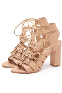 a1a0044cc1e Luz Wheat Tassel Heel Tan Sandals by Loeffler Randall