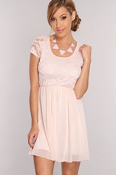 This dress will definitely give you that sweet, flirty flair that everyone wants! This chic dress is gonna have you walking out with confidence! This must have dress features embroidered lace design, scoop neck, short sleeves, sheer overlay, and fitted. 100% Polyester. Made in USA.