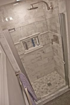 Small shower Tile in Shower stall- MAAX Insight in. W Swing-Open Shower Door in Chrome with Clear at The Home Depot Shower Remodel, Bathroom Remodel Master, Bathroom Makeover, Shower Stall, Bathroom Shower, Beautiful Bathrooms, Bathroom Redo, Bathroom Inspiration, Tile Bathroom