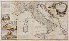 Italia 1714, molto belle e decorative le immagini a sx dell'Etna e del  Vesuvio (di Herman Moll)