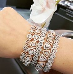 Best Diamond Bracelets : Stack Up Mondays! Emerald Bracelet, Diamond Bracelets, Diamond Jewelry, Bangle Bracelets, Gold Jewelry, Fine Jewelry, Jewellery, Yellow Jewelry, Crystal Jewelry
