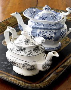 Blue and Black Teapots transferware, collectables and high dollar! Keep your eyes open at flea markets and resale shops! May have to start a new collection!