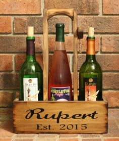 Rustic Wood Wine Caddy Wooden wine bottle and glasses holder Carrier Tote House warming Wedding Gift Country