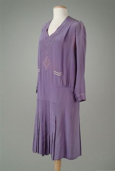 Lavender silk-crepe day dress. 1926