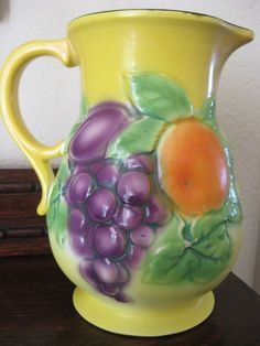 Mid-Century CORA Czech Pottery Pitcher Hand Painted Fruit Yellow Green Purple