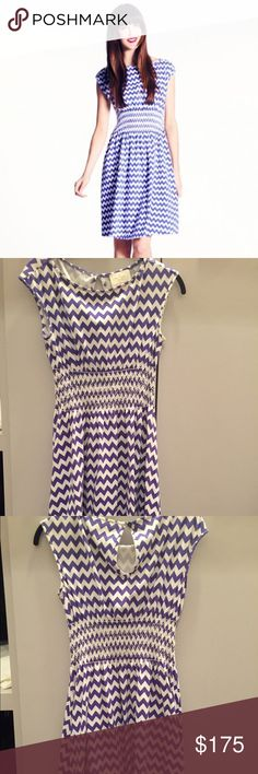 Kate Spade Leora Chevron Fit and Flare Dress Beautiful dress! Elegant bateau neck. High quality 95% cotton and 5% spandex. Fit and flare dress. Aster color chevron print. Soft cotton. Cap sleeve. Smocked waist. Dress it down with tennis shoes or dress up with heels. Have only word twice. Purchased from kate spade online. kate spade Dresses