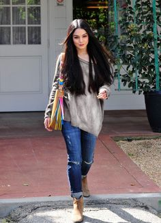 Vanessa Hudgens wearing Henri Bendel West Crossbody Hobo Bag and Black Orchid Harper Skinny Boyfriend Jeans in Reckless Estilo Vanessa Hudgens, Vanessa Hudgens Style, Casual Outfits, Cute Outfits, Fall Outfits, Rainbow Sweater, Star Fashion, Womens Fashion, Celebrity Look