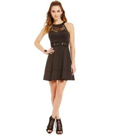 d12cc738879 I.N. San Francisco Crochet Lace Detail Fit-and-Flare Dress  Dillards Semi  Formal