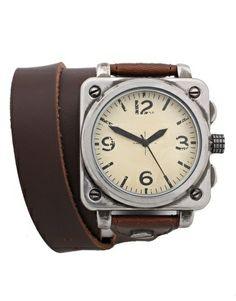 Imagen 1 de Reloj envolvente con pulsera de cuero de ASOS