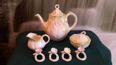 ask seller about teapot only - Lotus Teapot set  Pastel coloring glazed Food safe by TSoriginals