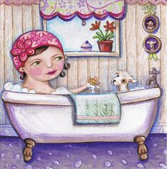 bath time for Boo Painting by Joanna Dover - bath time for Boo Fine Art Prints and Posters for Sale