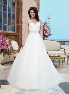 Sincerity wedding dress style 3843  Tulle, beading ball gown accented by a V-neck
