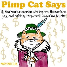 """Pimp Cat Says: """"My New Year's resolution is to improve the welfare, pay, civil rights & living conditions of ma b*tches"""". http://mindvomit.co.uk"""