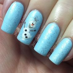 Bling frozen olaf nails design for 2014 Halloween - DIY, hand painted, blue
