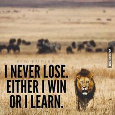 I never lose, either I win or I learn