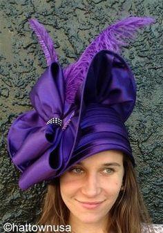 Women's Church Hat Purple Satin Large Ostrich Feathers Bow Rhinestones Dress
