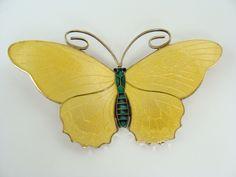 """Kristian Hestenes Norway Guilloche Yellow & Green Enamel Sterling Butterfly Brooch 3"""" <3"""