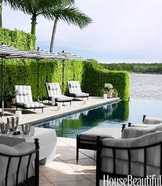 Walters Wicker Castillo chaises are set against a wall of ficus. Francesco Lagnese  - HouseBeautiful.com