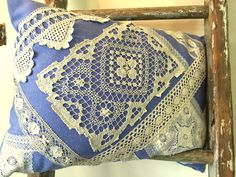 Antique and Vintage Lace Appliqued Pillow by VintageRebornLLC