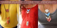 Geometric Shrink Plastic Pendants