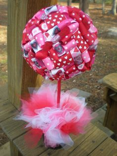 Ribbon Topiary Holiday Theme in Valentine's Day Pink & Red Hearts, Party/Baby Shower Centerpiece/Decoration: Small Size. $20.00, via Etsy.